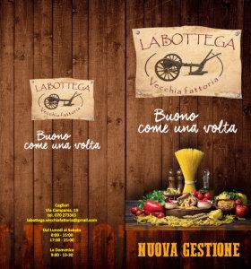 LA BOTTEGA - VECCHIA FATTORIA (Via Campania 19 Cagliari) Pieghevole formato 9.8x21cm. Esterno