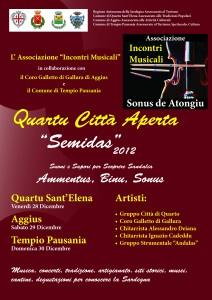 "Ass. INCONTRI MUSICALI. Locandina A3 n.1 Quartu Città Aperta ""Semidas 2012"" e flyer A5 (Dicembre 2012)"