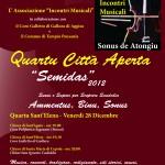 """Ass. INCONTRI MUSICALI. Locandina A3 n.2 Quartu Città Aperta """"Semidas 2012"""" (Dicembre 2012)"""